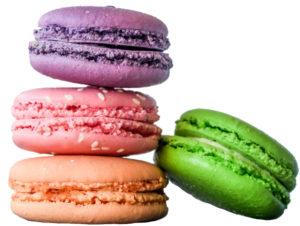 fyra stycken macron, en slags kaka populär i Frankrike